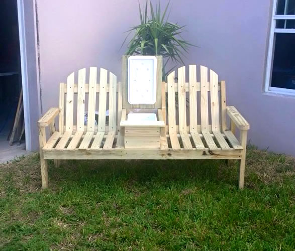 double bench with cooler